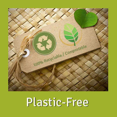 cardboard label on straw mat showing recyclable and compostable symbols