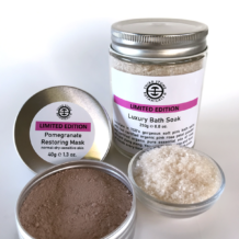 Organic Pamper Gift Pack Luxury Bath Soak and Natural Pomegranate Face Mask